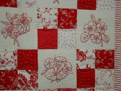 Farm Road Ramblings: Road To California Pics...I love old-fashioned redwork quilts and you can do them in colors other than red