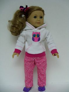 american girl doll pajamas | American Girl Doll Clothes: Owl Hoodie and Pink Print ... | AG doll
