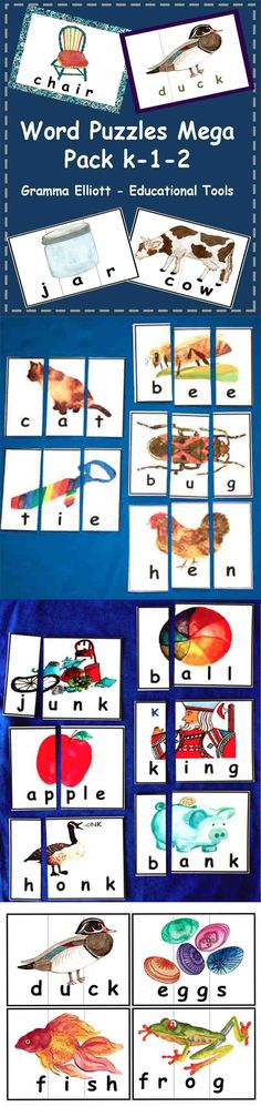 """A """"must have"""" package for tutors. This Expanded Maga Pack includes 163 word puzzles that I have been selling in 6 separate products for Kindergarten, 1st, and 2nd graders. These confidence-building puzzles can be cut many ways to accommodate the needs of your students. They are self-checking and a great for activity centers, cooperative learning, take home study packs, or intervention tutors."""