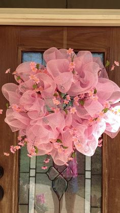 pink wreath with cherry blossoms