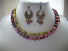 Rose Pink and Green Jade Gemstone and Olive by DesignsbyPattiLynn, $65.00