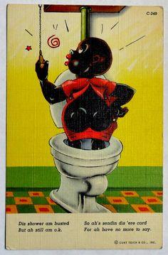 Spring Sale! Black Americana Boy on Toilet Linen Postcard, Vintage Unused c1940s, Comic Humor, Negro Dialect Vernacular, OakwoodView, $6.00
