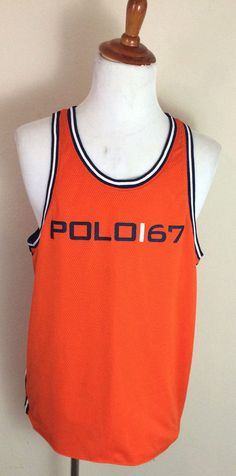 Vintage Ralph Lauren Polo Sport 67 Orange Basketball Jersey Mesh Mens size XL  #PoloSport #Jerseys