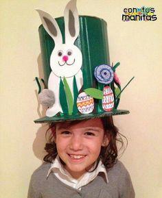 Tutorial Easter hat for kids. Boys Easter Hat, Easter Bonnets For Boys, Easter Hat Parade, Easter Bunny, Easter Activities, Craft Activities For Kids, Crafts For Kids, Kids Diy, Crazy Hat Day