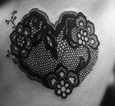 Lace heart tattoo.