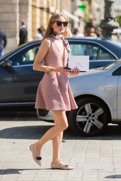 Olivia Palermo in an A-line Dior dress & Jimmy Choo flats #StreetStyle