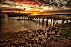 Pier Print featuring the photograph Pier At Smith Mountain Lake by Joshua Minso