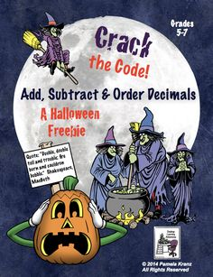 Halloween: Add, Subtract, & Order Decimals- Crack the Code! is a fun FREEBIE for grades 5-7. #Math #Decimals #Computation