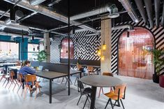 Valencia-based studio Masquespacio's style seamlessly fits the youthful model behind Dutch hotel group The Student Hotel, a new concept in hybrid hospitality that offers design-focused co-living and co-working options for students. Interior Design Colleges, Commercial Interior Design, Office Interior Design, Commercial Interiors, Luxury Interior, Barcelona Hotels, Barcelona Spain, Hotel Interiors, Office Interiors