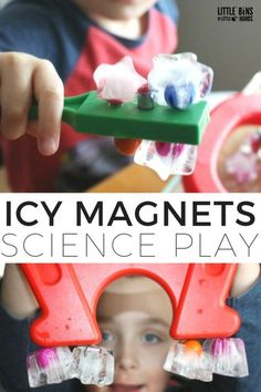 Magnetic ice science activity is perfect for young kids. Explore magnetism and ice for a complete hands on learning and play experience for preschool and kindergarten kids.