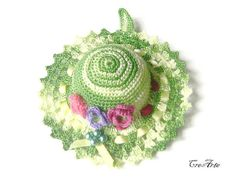 Crochet Pincushion Shades of Green Pincushion by CreArtebyPatty