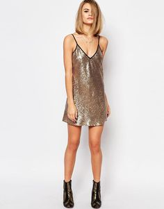 Reclaimed Vintage | Reclaimed Vintage Cami Festival Dress In Silver Sequin at ASOS