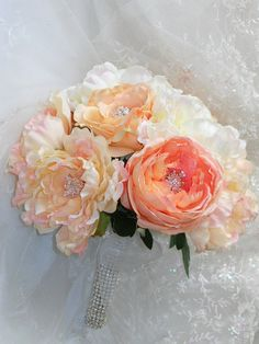 Bridal Bouquet with Coral Rose Cabbage Roses and by ArtHouseBridal, $140.00