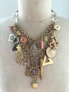 Steampunk Vintage Charm Statement Necklace, Repurposed necklace, Upcycled, Antique by CurioJewellery Vintage Jewelry Crafts, Funky Jewelry, Recycled Jewelry, Jewelry Art, Jewelry Design, Unique Jewelry, Jewellery, Diy Schmuck, Schmuck Design