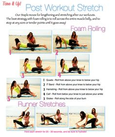 Tone It Up Post Workout Stretch - Foam Rolling Post Workout Stretches, Stretching Exercises, Gym Workouts, Roller Stretches, Beach Workouts, Daily Workouts, Hard Workout, After Workout, Workout Ideas