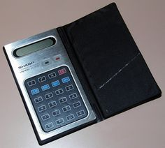 Vintage Sharp EL-8130 Super Thinman Electronic Pocket Calculator, World's First Touch Key Calculator With A Membrane Keypad, LCD, Made In Japan, Circa 1977.