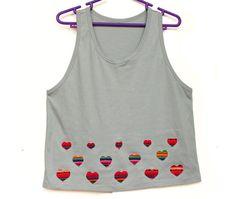 Women's Tshirts, Women's Tops, Trendy Tops, Shirt, Tank Top, Heart T shirt with Peruvian fabric, Andean fabric