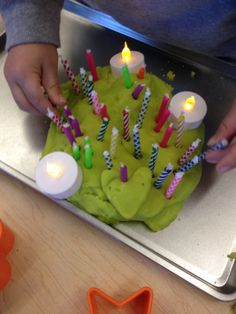 Birthday play dough cake-w/ candles and small battery lights :-)