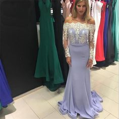 Lavender Long Mermaid Long Sleeves Lace Top Straight Neck Newest Prom Dress Prom Gowns by DestinyDress, $165.00 USD