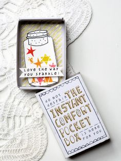 """Love the Way You Sparkle!"" The CHRISTMAS Instant Comfort Pocket Box - Stars in a jar"