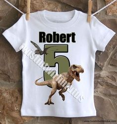 An awesome Jurrasic World birthday shirt personalized with your child's name and age. All shirts are cotton. I use a professional heat press to transfer t Birthday Party At Park, Dinosaur Birthday Party, 6th Birthday Parties, Birthday Boy Shirts, Boy Birthday, Birthday Ideas, Festa Jurassic Park, Jurassic World Dinosaurs, Parks