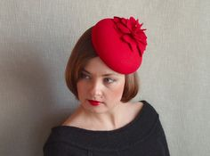 Red Felt Fascinator  Red Beret  Crimson Red by RubinaFascinators, $110.00 #pillboxhat #easyhatblocks