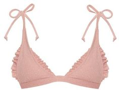 MADE BY DAWN Traveler ruffle-trimmed triangle bikini top #pink #bikini #ruffles