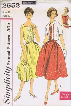 Vintage 50's Dress and Jacket Pattern Ensemble    Simple to Make Dress pattern has sleeveless bodice with square neckline, box pleat and button trim at center front.  Skirt is softly pleated each side of front, has gored back.  Jacket has small collar and short kimono sleeves.  View 1 Dress and Jacket pattern are same fabric and trimmed with lace insertion.  View 2 Dress is trimmed with self fabric bow.  Contrast Jacket is trimmed with Dress fabric.