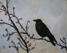 Encaustic crow painting by KDB-Karen Dominguez.