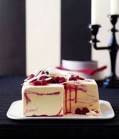 White chocolate and raspberry-ripple ice-cream cake - Gourmet Traveller, way too complicated but sounds delish