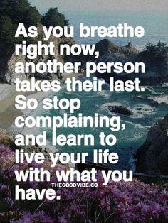 - Mientras tu respiras ahora , otra persona tiene su ultima respiracion. Deja de lamentarte y aprende a vivir tu vida con lo que tienes . . . -    @swami1951