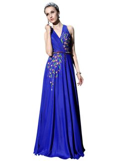 Royal Blue V Neck Evening Dress with Floral Prints (30366)  £150.00 Stunning royal blue evening dress featuring floral prints and gorgeous sling belt. The long flowing chiffon skirt falls from a dropped waist for an elegant yet easy swing that will look great as you spin around the dance floor in this long sleeveless dress.