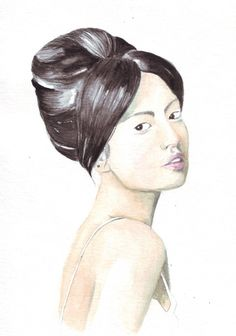 Original watercolor painting Asian woman looking over by HelgaMcL http://etsy.me/UyVG83 $20.00