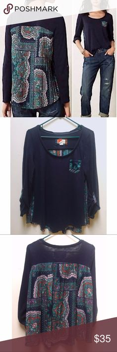 ☀️EUC Anthropologie Paper Locket Accordion Blouse Paper Locket by Anthropologie navy, green, and purple Accordion Pleated Paisley Print Pleated 3/4 Sleeve Blouse Top, Size Medium, in excellent used condition Anthropologie Tops Blouses