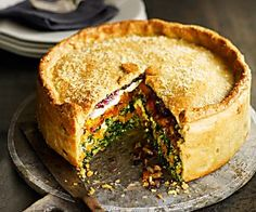 Butternut squash, spinach and goat's cheese pie