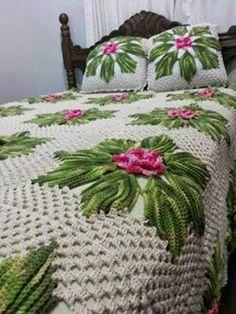 Harmonia Em Crochê: Colcha de Crochê - com flores