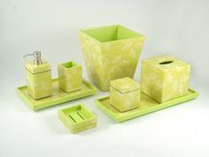 "Pacific Connections - Ginko Inlay Bath Collection  Ginko Paper Inlay with Lacquer Bath Collection: Item List: L-29GP: 3""x3""x4.5""H Brush Holder L-57GP: 3""x3""x8""H Lotion Pump L-62GP: 5.5"" Cube Tissue Box Cover L-63GP: 9""x9""x10""H Waste Basket L-64GP: 12""x8""x1.5""H Vanity Tray L-66GP: 4""x5""x1.5""H Soap Dish L-86GP: 3.5""x3.5""x4""H Q Tip Box L-87GP: 17""x7"" Long Vanity Tray"