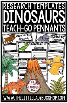 You will love these Dinosaurs Research Teach- Go Pennants™. Just Print & Go with these Dinosaurs Pennants for studying and learning about these historic animals! Perfect research project for 3rd grade, 4th grade, and homeschool students #dinosauractivities #dinosaurresearch