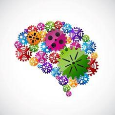 en hjerne med mange farvede tandhjul
