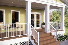 Deckorators Vista composite decking in Sandalwood. The variegated colors of Vista composite decking offer a destination feel for your backyard.