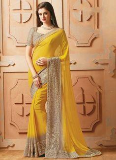 Beautiful Yellow Embroidery Work Georgette Designer Sarees http://www.angelnx.com/Sarees/Designer-Sarees