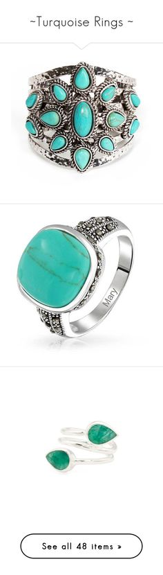 """~Turquoise Rings ~"" by gypsybythesea ❤ liked on Polyvore featuring jewelry, bracelets, bohemian jewelry, blue turquoise jewelry, bohemian bangles, stone bangles, turquoise jewellery, rings, blue and theme jewelry"