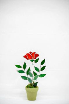 Stained Glass Red Rose Single Stem Rose Bud by GalaGardensGlassArt