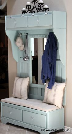 Build a Mudroom Bench from an Old Dresser | remodelaholic.com #mudroom #bench #olddresser @Remodelaholic .com .com