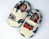 Happy Camping Organic Handmade Baby Shoes Boy or Girl- Size 6-12 months with VW bus, trees, tents