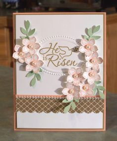 Easter Dove & Petite Petals Spring Colors   by Linda Throgmorton, I love how the Easter Dove stamp fits into the oval frame of the Designer Frames Textured Impressions EF. I think the card would work nicely for Easter or as a Sympathy card.