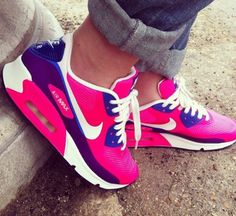Air Max hot pink and purple Nike running shoes for 60% off. It is amazing.