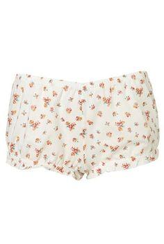 Cream Ditsy Floral Print Bloomer PJ Shorts  - StyleSays