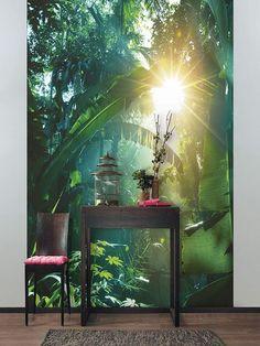 Tropical Interior, Tropical Decor, Room Deviders, Style Tropical, Deco Jungle, Interior Styling, Interior Design, Unique Wallpaper, Tiny House Design