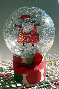 Splitcoaststampers - Homemade Snow Globe Project Tutorial by Vickie Garrett - what a cute idea to give to someone Christmas Snow Globes, Christmas Ornaments To Make, Christmas Projects, Holiday Crafts, Christmas Time, Christmas Decorations, Homemade Snow Globes, Santa Snow Globe, Globe Projects